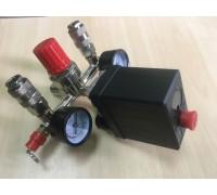 Реле (редуктор) давления на компрессор в сборе с манометрами и быстросъёмами на коллекторе